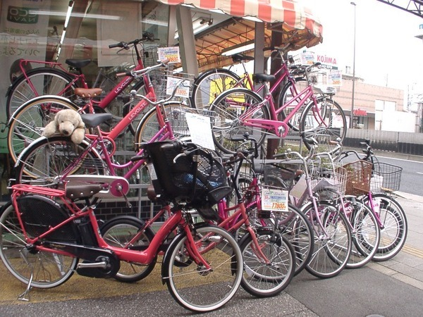 ひな祭り桃色自転車コーナー
